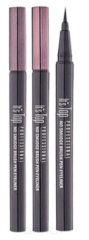 """цены It's Skin Подводка для глаз """"Итс Топ Профешенл Ноу Смудж"""" Top Professional No Smudge Brush Pen Eyeliner, 0,6 г (2 тона), 0,6 г, 01 Black (черный)"""