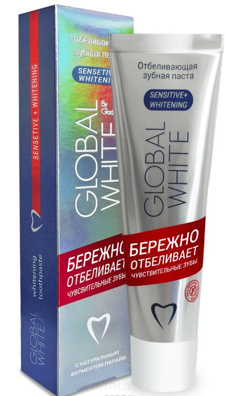 Global White Зубная паста Отбеливающая для чувствительных зубов, 100 мл swissdent отбеливающая зубная паста для чувствительных зубов gentle 100 мл