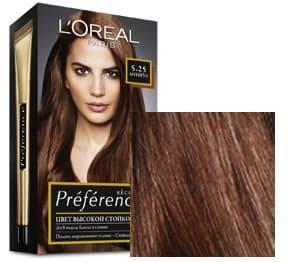 LOreal, Краска для волос Preference (27 оттенков), 270 мл 5.25 Антигуа каштановый перламутровый