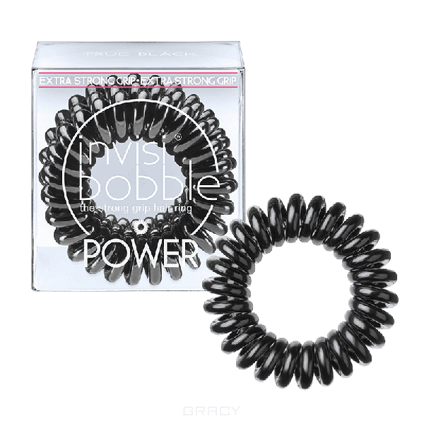 Invisibobble Резинка для волос черная Power True Black (3 шт.), Резинка для волос черная Power True Black (3 шт.), 3 шт power резинка браслет для волос черная