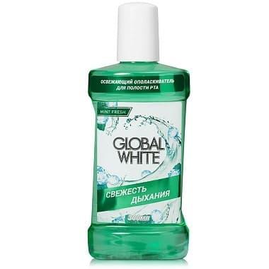 Global White Ополаскиватель освежающий Свежесть дыхания, 300 мл зубные щетки global white зубная щетка хром global white