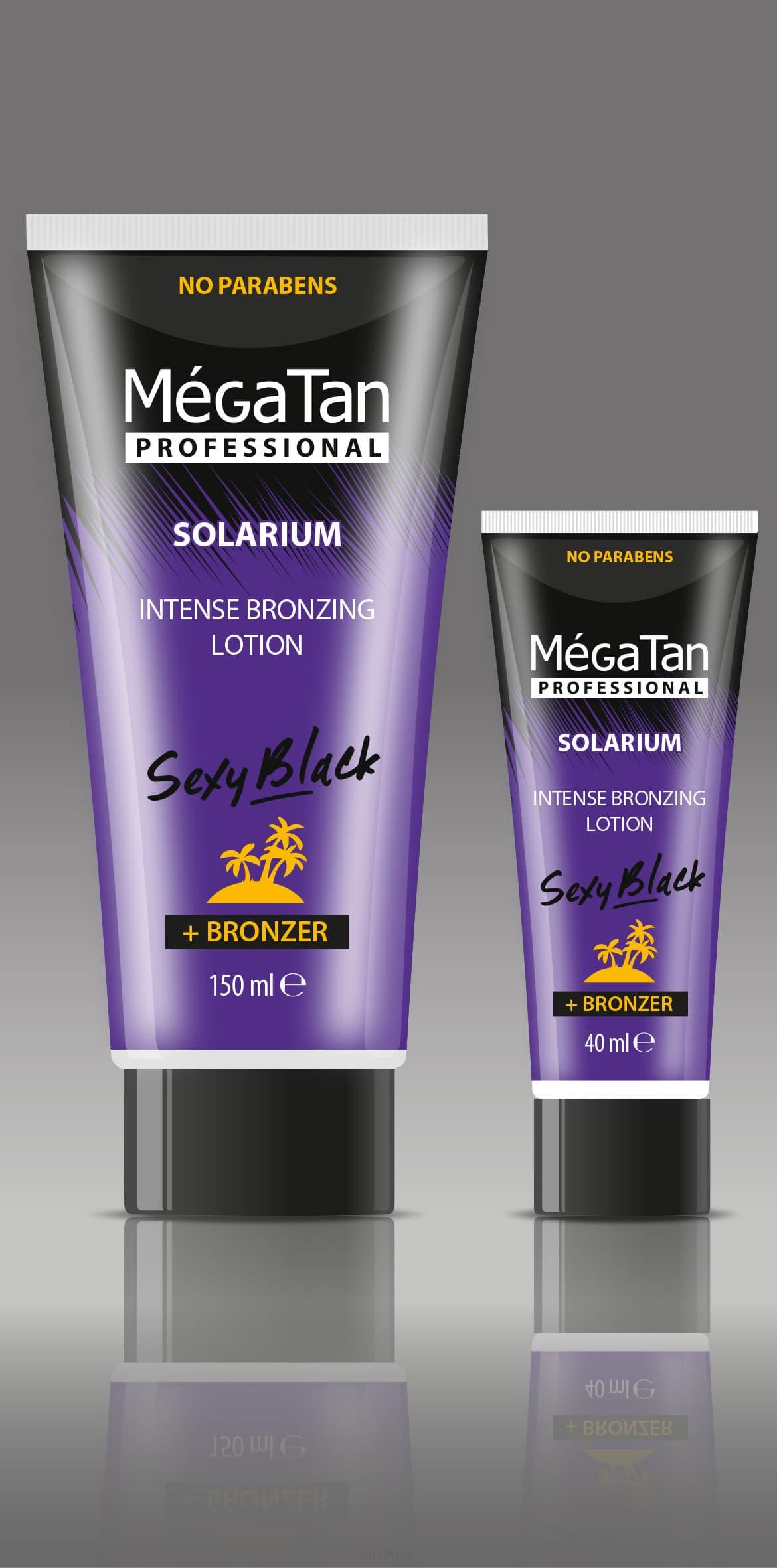 MegaTan - Лосьон для загара интенсивный Sexy black intense bronzing + Bronzer