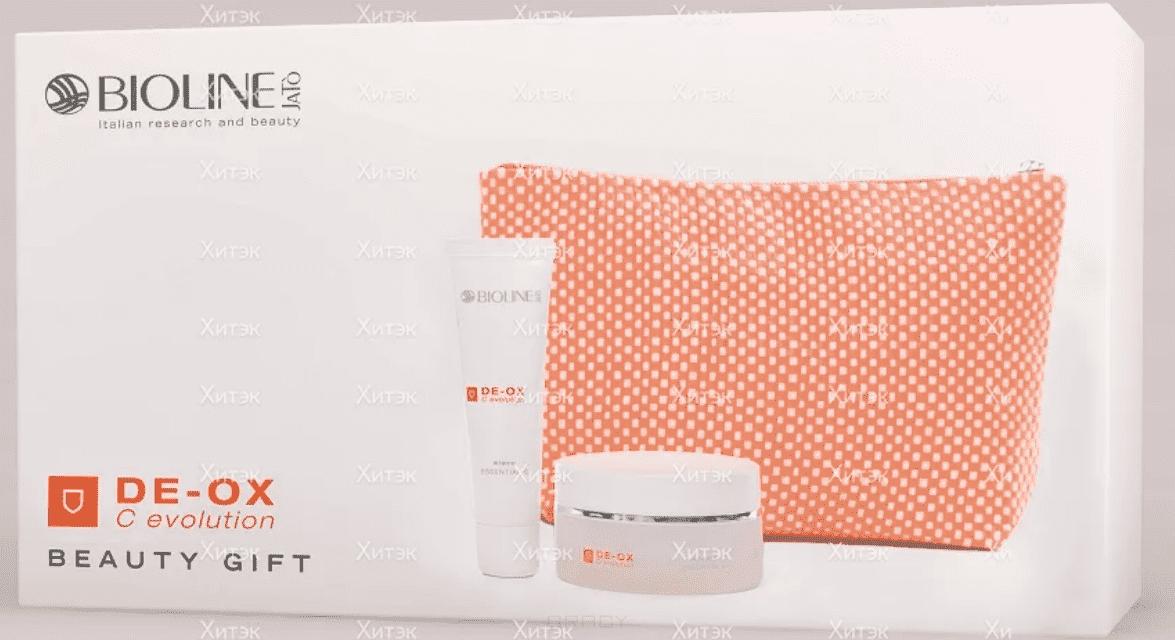 Bioline Подарочный набор DE-OX с витамином C для молодой кожи, 30/50 мл + бьюти-кейс bioline подарочный набор desence couperose pensil case для для ухода за чувствительной кожей лица 30 50 50 мл пенал косметичка