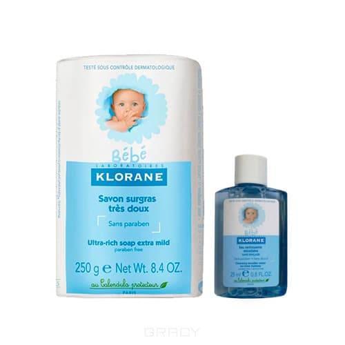 Klorane Набор Детское сверхпитательное мыло с экстрактом календулы, 250 г + Очищающая мицеллярная вода с Физио экстрактом календулы, 25 мл 806 274 534 050 грубая