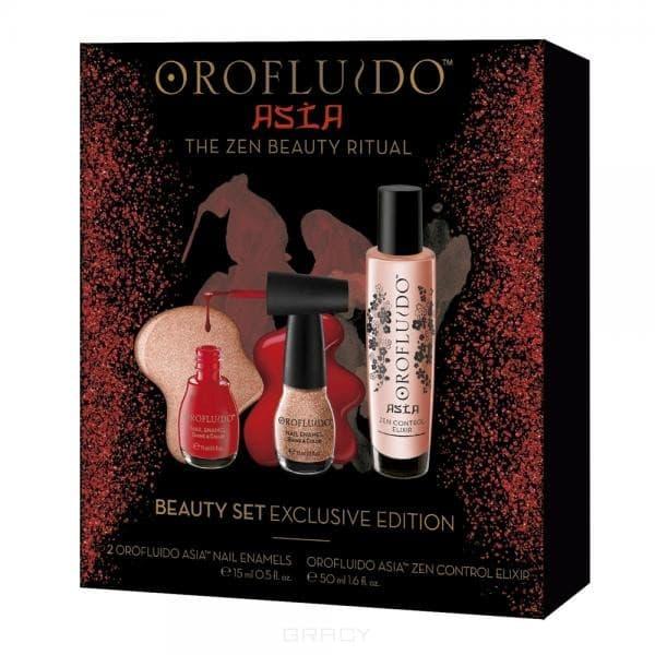 Orofluido Подарочный набор Asia (эликсир 50 мл + лаки для ногтей) orofluido asia spa zen control elixir эликсир для контроля непослушных волос 25 мл
