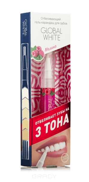 Global White Отбеливающий карандаш-апликатор со вкусом Малины, 5 мл зубные щетки global white зубная щетка хром global white