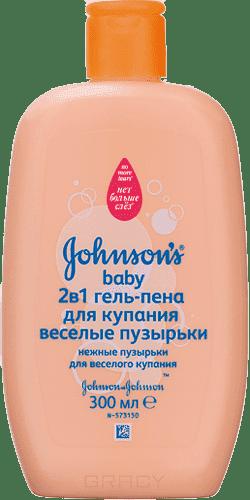 Johnson's Baby Гель-пена для купания 2 в 1 Веселые пузырьки, 300 мл johnson s baby влажные салфетки для самых маленьких без отдушки johnson s baby 64 шт