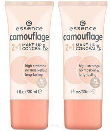 Essence Тональная основа и  консилер Camouflage 2in1 Make-up  Concealer, 30 мл
