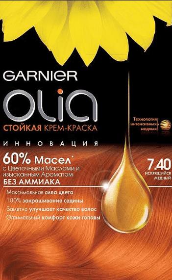 Garnier, Краска для волос Olia, 160 мл (24 оттенка) 7.40 Искрящийся медный