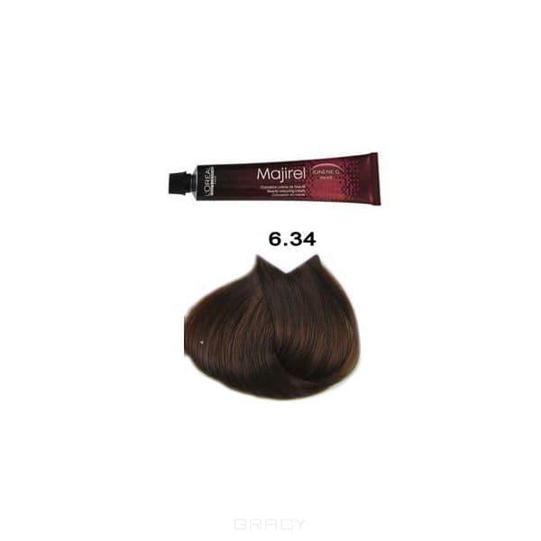 LOreal Professionnel, Крем-краска Мажирель Majirel, 50 мл (88 оттенков) 6.34 тёмный блондин золотисто-медный