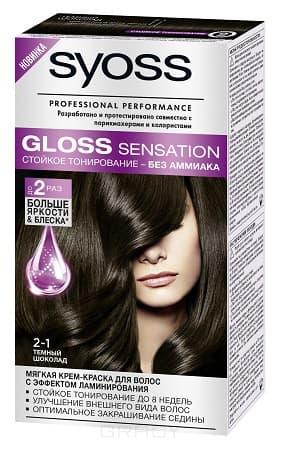 Syoss, Крем-краска для волос Gloss Sensation без аммиака, 115 мл (20 оттенков) 2-1 Темный шоколад
