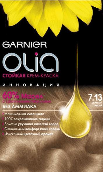 Garnier, Краска для волос Olia, 160 мл (24 оттенка) 7.13 Бежевый русый