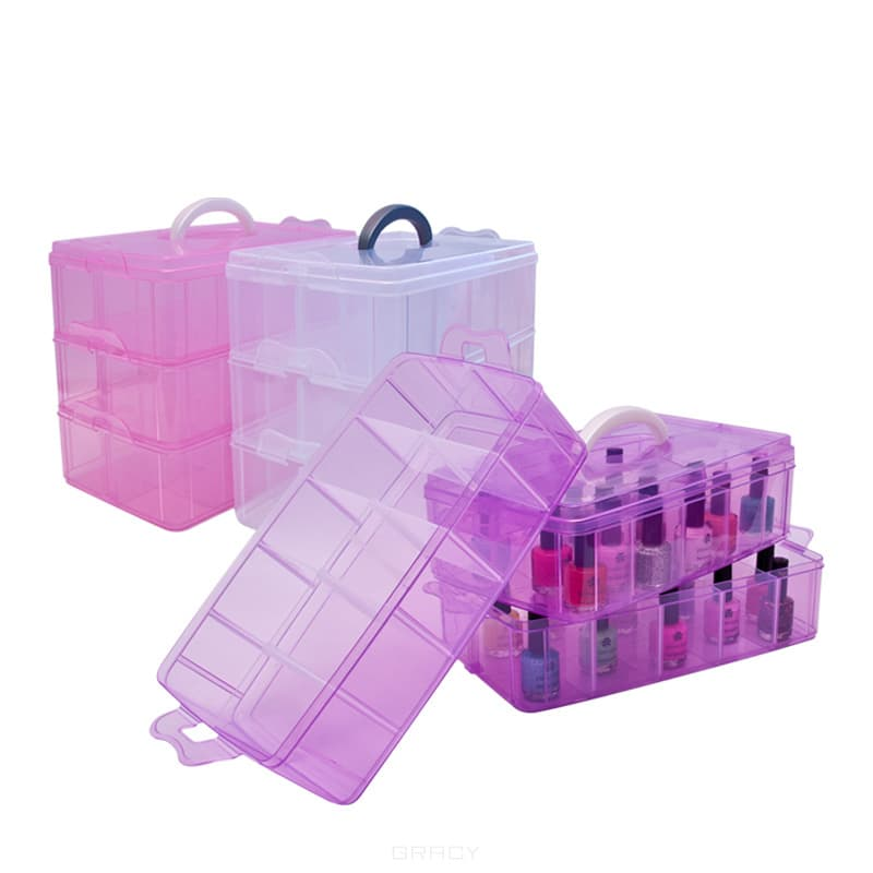 Planet Nails Чемодан пластиковый трехуровневый большой 335х192х246 мм (3 цвета), 1 шт, Розовый