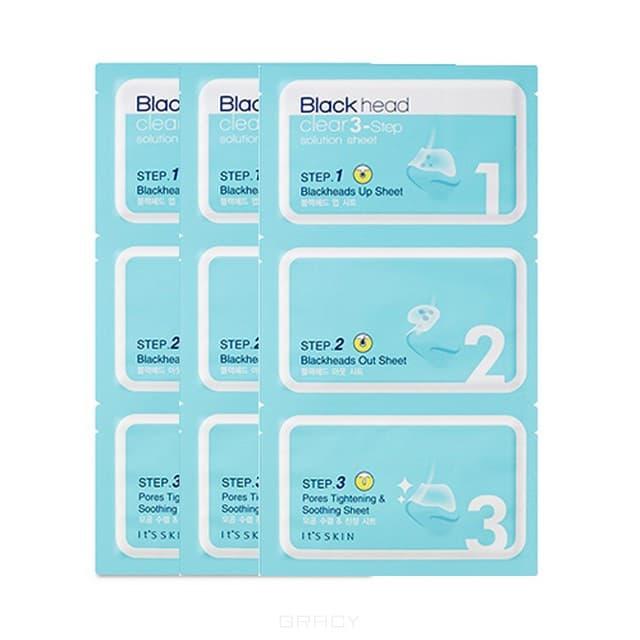 It's Skin Трехступенчатая система для очищения черных точек Блэкхэд Клиа Солюшн Blackhead Clear 3-Step Solution Sheet, 3 шт