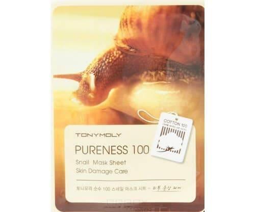 Tony Moly, Тканевая маска с фильтратом улитки Pureness 100 Snail Mask Sheet Skin Damage Care, 21 мл
