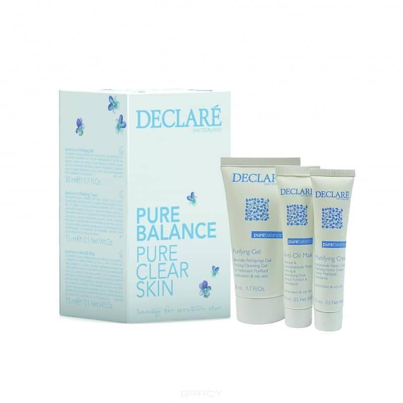 Declare Мини-набор Чистая кожа Set Pure Balance, 15/15/50 мл declare восстанавливающий гель для кожи вокруг глаз с массажным эффектом perfect eye fluid 15 мл