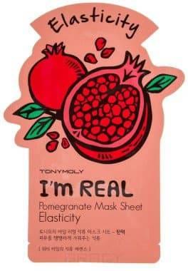 Tony Moly, Тканевая маска для лица с экстрактом граната Im Real Pomegrante Mask Sheet Elasticity, 21 мл