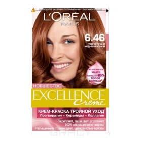 LOreal, Краска для волос Excellence Creme (32 оттенка), 270 мл 6.46 темно-русый медно-красный