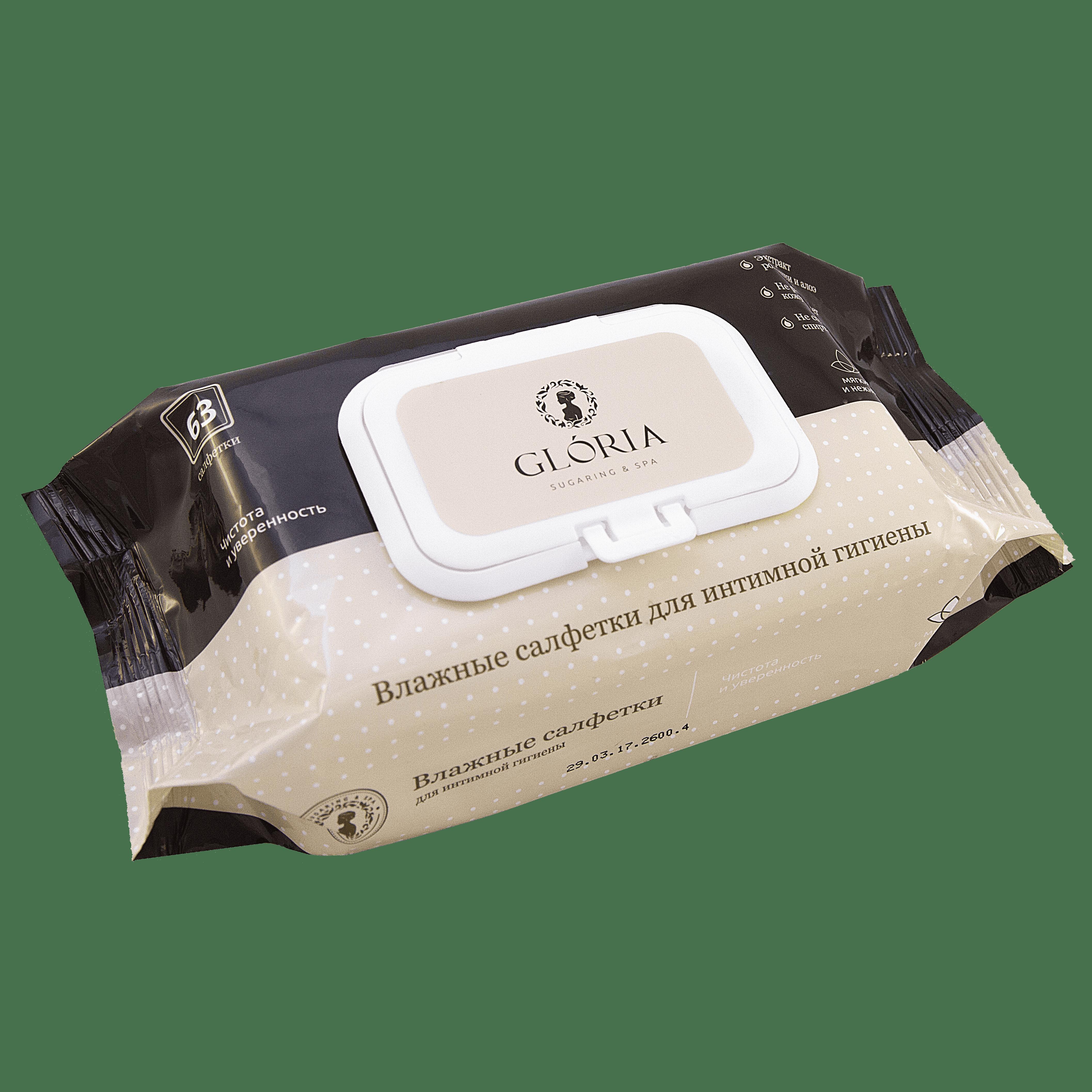 Gloria, Влажные салфетки для интимной гигиены, 63 шт/уп