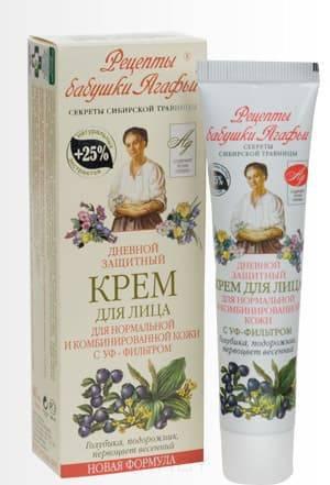 Рецепты бабушки Агафьи, Крем для лица дневной Защитный для нормальной и комбинированной кожи с Уф-фильтром, 40 мл