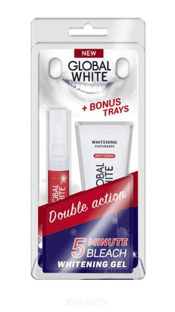 Global White Набор отбеливающий с капами в ПОДАРОК( карандаш+з/п +капы) гели global white набор отбеливающий с капами в подарок