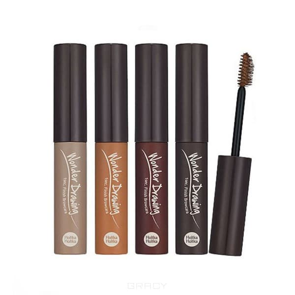 Holika Holika Тушь для бровей Wonder Drawing 1s Finish Brow Cara Brown (4 тона), 1 шт, тон 02 светло-коричневый окрашивание бровей holika holika wonder drawing cushion tint brow 02 цвет 02 dark brown variant hex name 714600