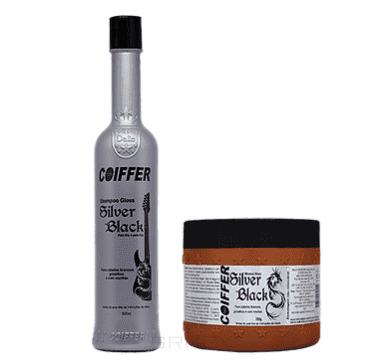 Coiffer, Набор для увлажнения и  придания волосам темных оттенков Black Silver (300 мл + 250 г)